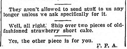 Strawberry Shortcake - April 19 1918