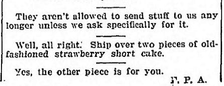 Strawberry Shortcake - April 19 1918